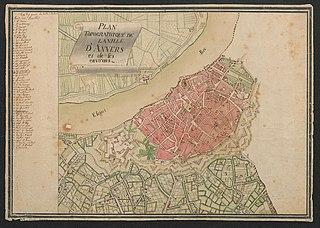 Topografisch plan van Antwerpen en de onmiddellijke omgeving