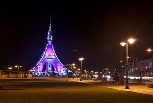 Bata, Equatorial Guinea - Torre de La Libertad standing by the promenade along the coast