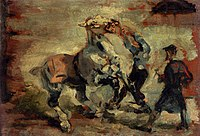 Toulouse-Lautrec - Horse Fighting His Groom, 1881.jpg