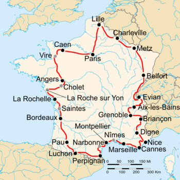 Map of France with the route of the 1936 Tour de France