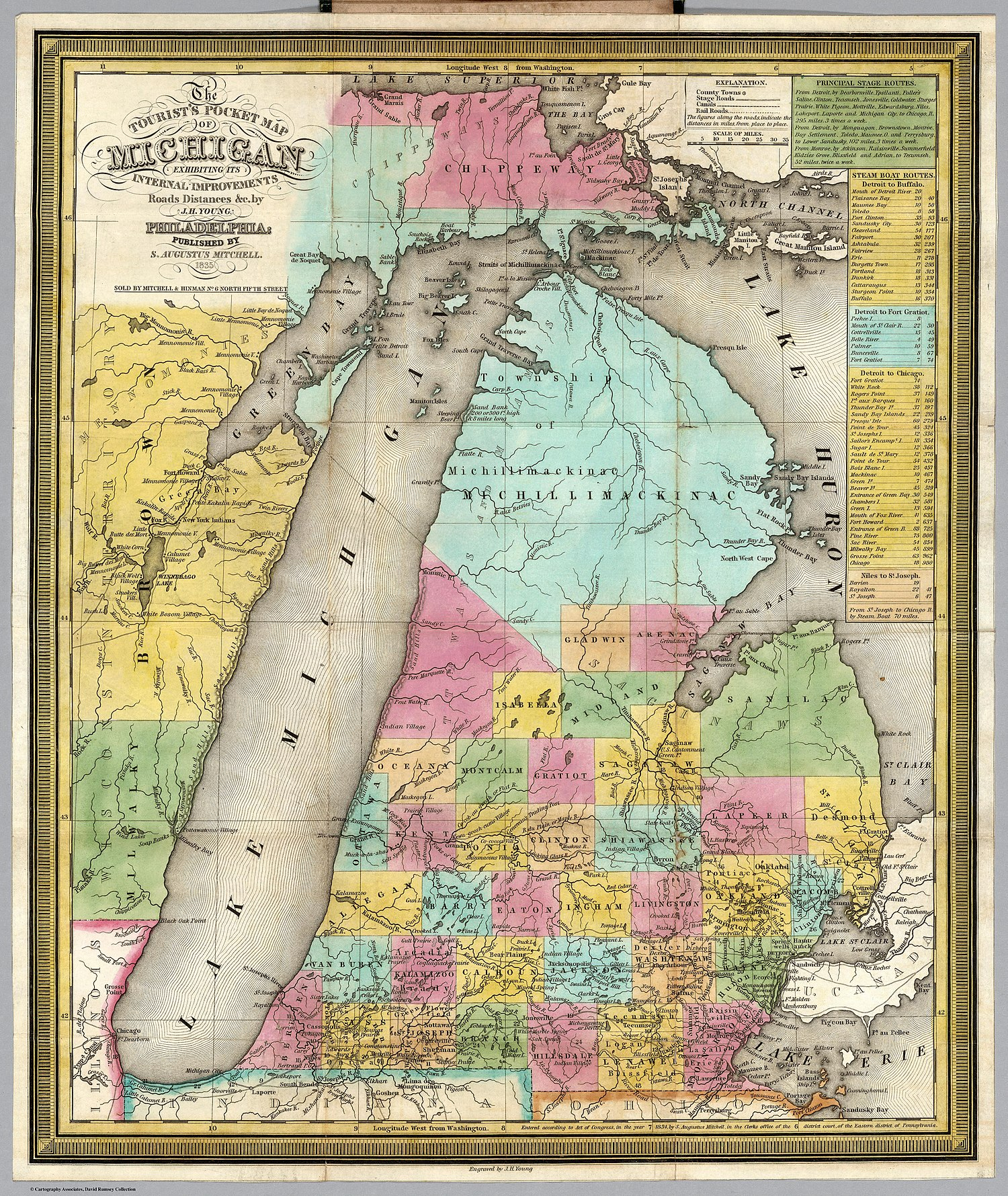 Northern Michigan islands, rivers, and shore landmarks featured prominently on this 1835 Tourist's Pocket Map Of Michigan.