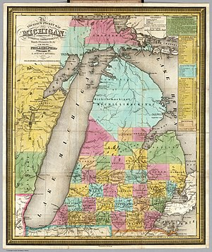 Northern Michigan - The 1835 Tourist's Pocket Map Of Michigan by S. Augustus Mitchell shows the relatively undeveloped Northern Michigan even as a steamboat route operated between Detroit and Chicago via Michilimackinac.