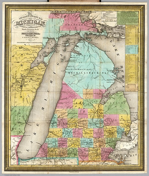 "An 1835 Map Of Michigan shows the ""Township of Michilimackinac"" encompassing the Upper Peninsula and the entirety of Northern Michigan."