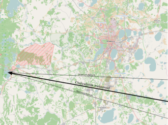 Chelyabinsk meteor - The meteor's path in relation to the ground.