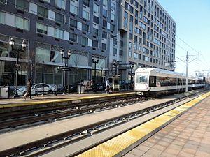 Marin Boulevard (HBLR station) - Northbound train arriving