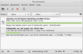 Transmission 2.50 (GTK-interface) onder Xfce