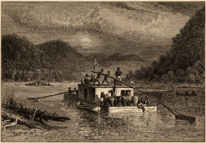 Flatboat - An Alfred Waud engraving showing persons traveling down a river by flatboat in the late 1800s.