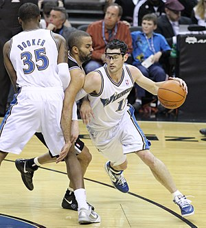 """Pick and roll - Trevor Booker sets a """"screen"""" on Tony Parker for Kirk Hinrich"""