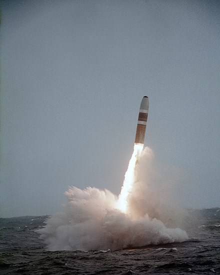 A Trident missile clears the water after launch from a US Navy submarine in 1984