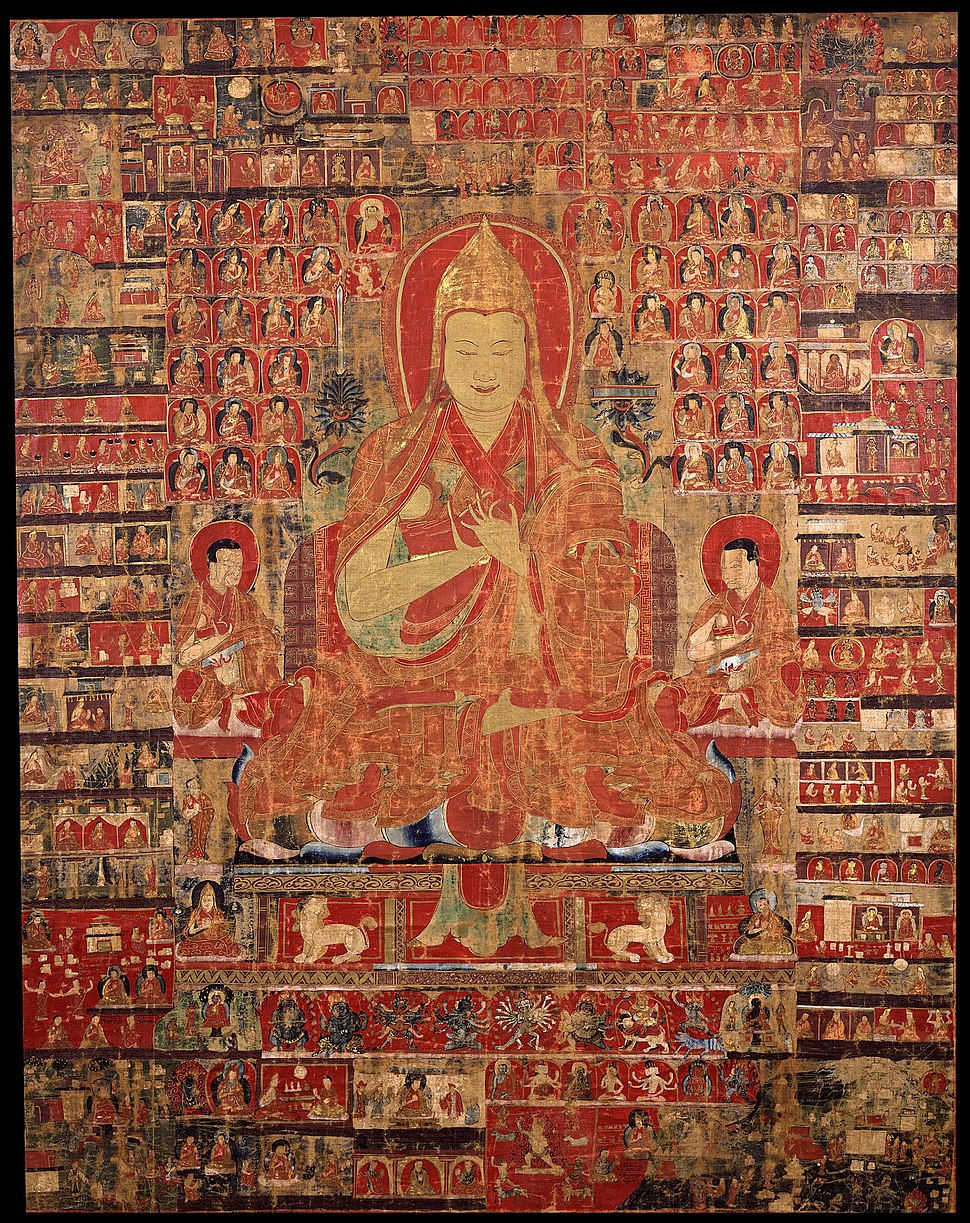 Tsongkapa, thangka from Tibet in the 15th-century, painting on cloth - Google Art Project