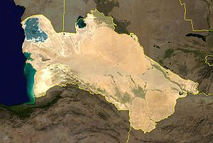 Outline of Turkmenistan - An enlargeable satellite image of Turkmenistan