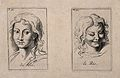Two faces showing joy and laughter. Etching by B. Picart, 17 Wellcome V0009395.jpg