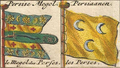 Two maritime ensigns of Persia in 1711 Petrus Schenk's flag chart.png