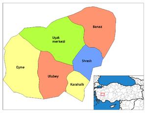 Karahallı - Image: Uşak districts