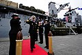 U.S. Navy Vice Adm. Frank C. Pandolfe, commander, U.S. 6th Fleet, salutes as he passes through side boys after departing the dock-landing ship USS Fort McHenry (LSD 43) in Dublin, Ireland, Aug. 31 120831-N-LD296-002.jpg