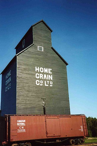 Provincial historic sites of Alberta - Home Grain Co. wooden cribbed elevator at the Ukrainian Cultural Heritage Village