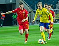 UEFA EURO qualifiers Sweden vs Romaina 20190323 Emil Forsberg and Tudor Baluta 20 (cropped).jpg