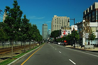 U.S. Route 20 in Massachusetts - US 20 eastbound approaching Kenmore Square, Boston