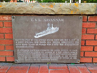 USS Savannah (CL-42) - Image: USS Savannah CL42 memorial plaque