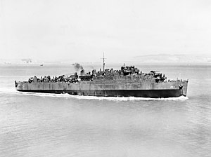 USS Belle Grove (LSD-2) undergoing sea trials in San Francisco Bay, 16 August 1943.