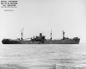 USS Cor Caroli (AK-91), broadside view, underway off San Francisco, CA., 1 May 1943.