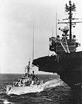 USS Hawkins (DDR-873) refueling fom Independence (CVA-62) 1959.jpg