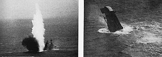 USS Pensacola (CA-24) - Pensacola being sunk as a target ship in 1948