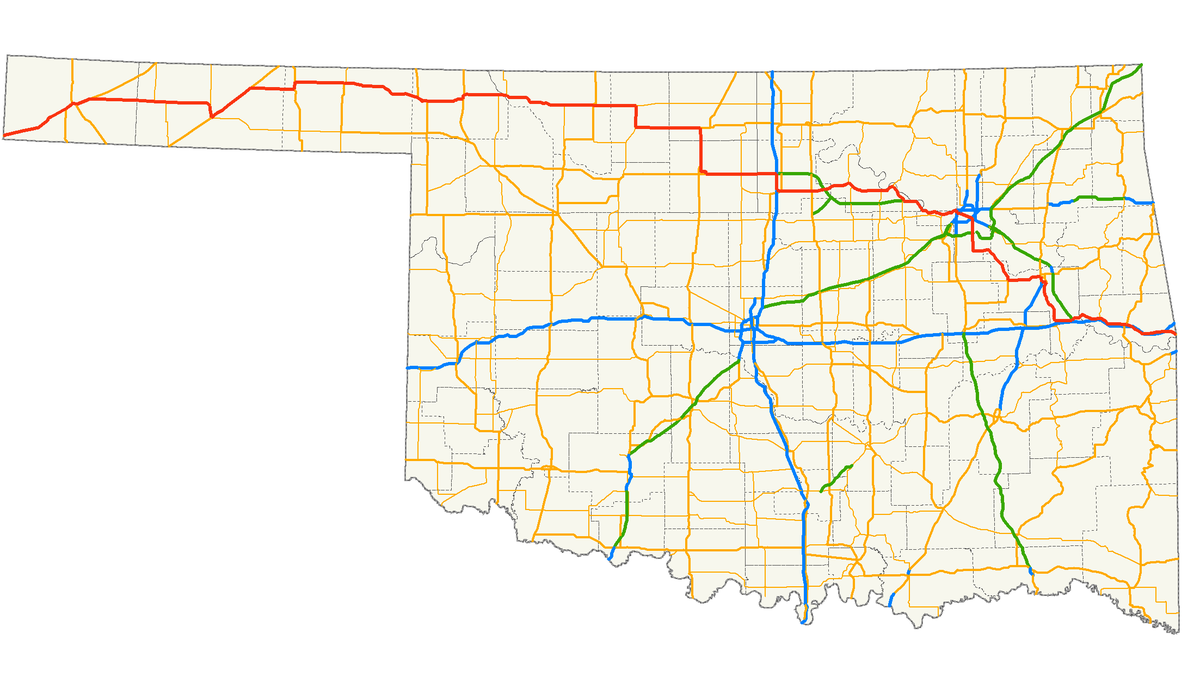 US Route  In Oklahoma Wikipedia - Us highway map with speed limits