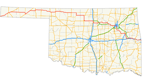 Us 64 On A Map Of Oklahoma Highlighted In Red