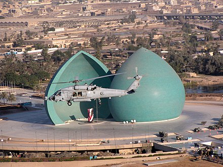 The al-Shaheed Monument in Baghdad dedicated to the Iraqi soldiers who died in the Iran-Iraq War US Navy 031130-N-0000S-001 An HH-60H helicopter assigned to the Firehawks of Helicopter Combat Search and Rescue Squadron-Special Warfare Support Special Squadron Five (HCS-5).jpg