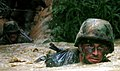 US Navy 050225-N-9712C-004 Equipment Operator 3rd Class Jordan Mann, a Seabee assigned to Naval Mobile Construction Battalion Four Zero (NMCB-40), low-crawls through a pond during the endurance course at the Jungle Warfare Trai.jpg