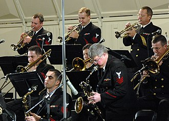 Jazz band - A brass section, with various brass instruments