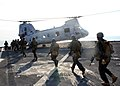US Navy 070221-N-6710M-005 Members from the 31st Marine Expeditionary Unit prepare to board CH-46 helicopter while conducting a profile exercise with members from USS Tortruga (LSD 46) Visit, Board, Search and Seizure (VBSS) te.jpg