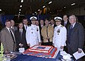 US Navy 070420-N-6616W-048 Rear Adm. Michael P. Nowakowski and Capt. Richard D. Fitzpatrick pose for a photo with the rest of the former commanding officers of amphibious assault ship USS Saipan (LHA-2) at the ship's deco.jpg