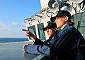 US Navy 080728-N-1488S-012 Midshipman 3r Class John Peach III and Midshipman 3rd Class Elizabeth Subjeck observe multiple ship maneuvering exercises.jpg