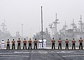 US Navy 080828-N-6423H-022 Sailors and Marines man the rails of the amphibious transport dock ship USS San Antonio (LPD 17).jpg