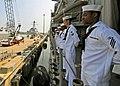 US Navy 080830-N-1082Z-012 Sailors man the rails aboard the guided-missile cruiser USS Vella Gulf (CG 72).jpg
