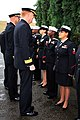 US Navy 091006-N-5338T-035 Rear Adm. James Foggo talks with Intelligence Specialist 1st Class Christine Perez during a uniform inspection at Supreme Headquarters Allied Powers Europe.jpg