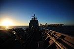 US Navy 101208-N-6006S-031 The guided-missile cruiser USS Bunker Hill (CG 52) makes an emergency break away maneuver.jpg