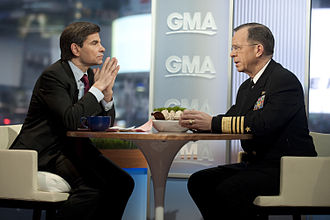 George Stephanopoulos - Image: US Navy 110204 N 0696M 049 Chairman of the Joint Chiefs of Staff Adm. Mike Mullen is interviewed by Good Morning America's George Stephanopoulos
