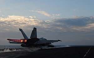 US Navy 120213-N-YL945-122 An F-A-18E Super Hornet assigned to the Kestrels of Strike Fighter Squadron (VFA) 137 launches from the flight deck of t.jpg