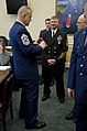 US Navy 120216-N-IV546-011 Master Chief Petty Officer of the Navy (MCPON) Rick D. West speaks with Chief Master Sergeant of the Air Force (CMSAF) J.jpg