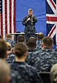 US Navy Master Chief Petty Officer of the Navy (MCPON) Rick West answers a Sailor's question during an all-hands call at Joint Analysis Center Royal Air Force Molesworth.jpg