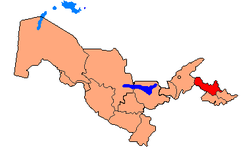 Map of Uzbekistan, location of Namangan Region highlighted