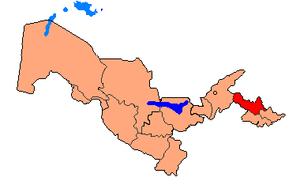 Наманганская область на карте