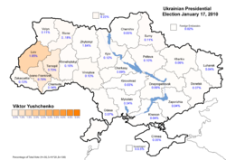 Viktor Yushchenko (First round) – percentage of total national vote (5.46%)