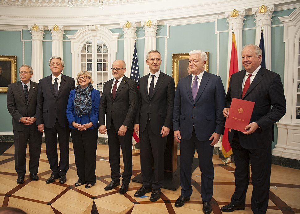 Under Secretary Shannon Poses for a Photo With Montenegro%27s Prime Minister Markovic, Montenegro%27s Foreign Minister Darmanovic, and NATO Secretary-General Stoltenberg at a Ceremony in Washington (34734796140)