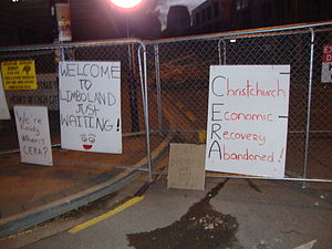 English: Signs put up by unhappy business owne...