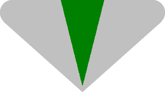 Academic dress of the University of Kent - The hood design as seen from behind. The outer colour denotes the rank of degree (here silver for a Bachelor's degree). The central panel indicates the Faculty (here green for Humanities).