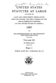 United States Statutes at Large Volume 101 Part 1.djvu
